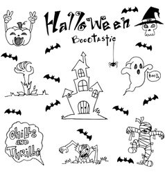 Element Halloween Castle bat and ghost dooodle vector image