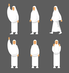 Female activity figure hajj pilgrims character set vector