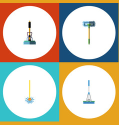 flat icon cleaner set of broom cleaning vector image