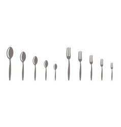 forks and spoons set different scale sizes vector image