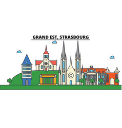 France strasbourg grand est city skyline vector
