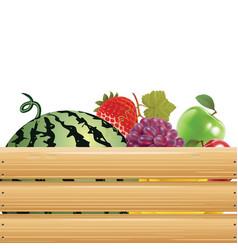 fruits in wooden basket 02 vector image