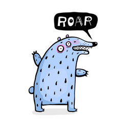 funny bear for kids talking roar vector image
