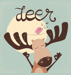 funny dear with bird bird song vector image