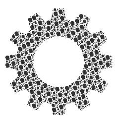 Gear wheel mosaic of smoking detective icons vector