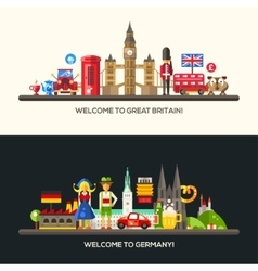 Germany great britain travel banners set vector