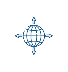 Global sales channels line icon concept global vector