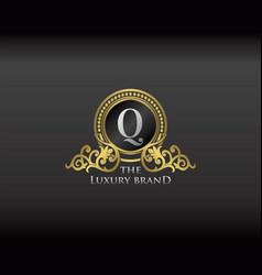 Gold luxury brand letter q elegant logo badge vector