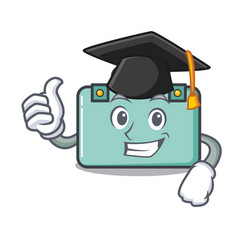 Graduation suitcase character cartoon style vector