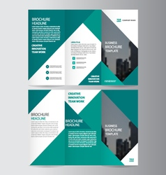 Green business trifold Leaflet Brochure Flyer set vector