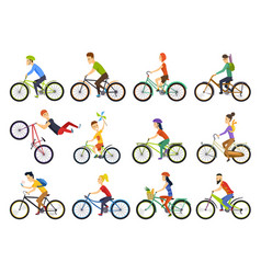 Group of tiny people riding bikes on city bike vector