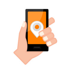 Hand holding a smartphone with a pin icon vector