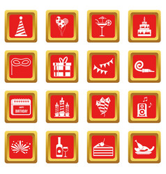 happy birthday icons set red vector image
