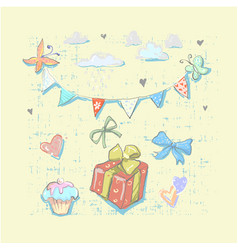 happy birthday set cute elements with gift box vector image