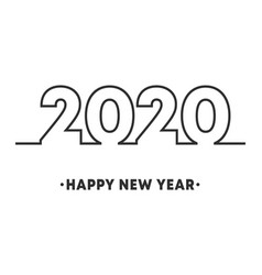 happy new year 2020 minimal line design for vector image