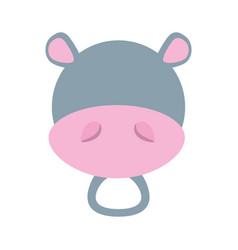 Head cute hippo animal image vector