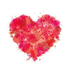 Heart watercolor paint of splatter love icon vector