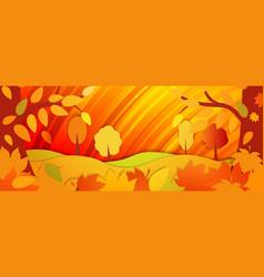 Horizontal bright autumn background autumn forest vector