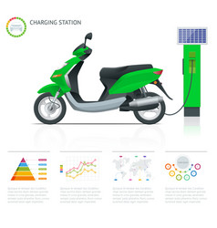 Infographics and trendy electric scooter charging vector