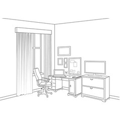 Interior sketch home office room outline vector