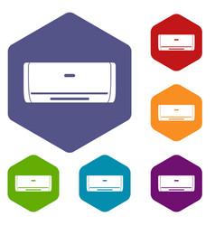 Internal unit air conditioner icons set hexagon vector