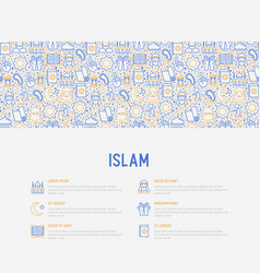 islam concept with thin line icons vector image