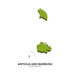 Isometric map of Antigua and Barbuda detailed vector image