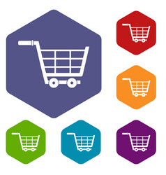 Large shopping trolley icons set hexagon vector