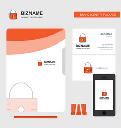 locked business logo file cover visiting card and vector image