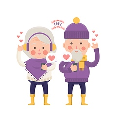 Lovely Senior Couple Sending Love for Valentine vector image