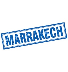 Marrakech blue square grunge stamp on white vector