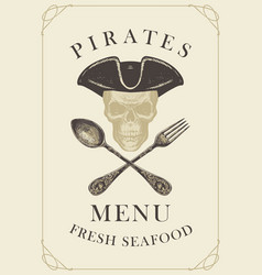 menu with pirate skull with a spoon and fork vector image