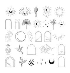 Modern abstract line art designs elements vector