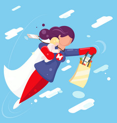Modern super hero mother flying sky clowds child vector