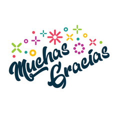 Muchas gracias spanish thank you greeting card vector