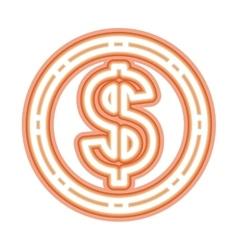 Neon money symbol icon vector