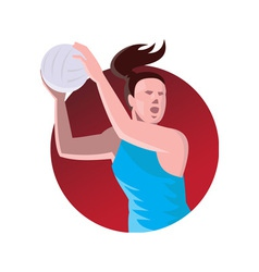 Netball player passing ball retro vector