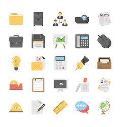 Pack of office and internet flat vector