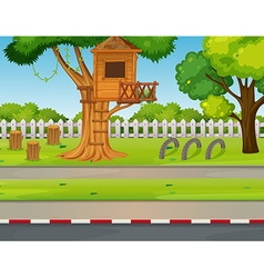 Park scene with treehouse along the road vector image