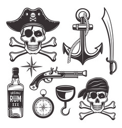 pirates attributes set vintage elements vector image