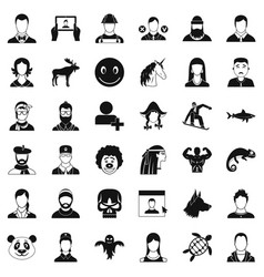 Profile icons set simple style vector