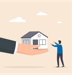 real estate agent holds out a hand with a house vector image