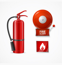 realistic detailed 3d fire alarm set vector image