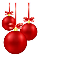 red christmas decoration balls on ribbon with bow vector image