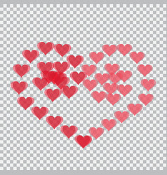 Red hearts translucent arranged in a heart shape vector