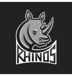 Rhinos head logo for sport club or team Animal vector