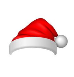 santa claus hat 3d realistic claus hat vector image