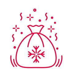 santa sack with christmas presents linear icon vector image
