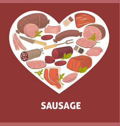 sausage butchery shop food meat product vector image