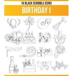 Scribble black icon set birthday i vector